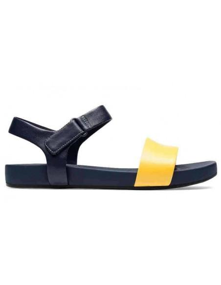 Clarks Bright Pacey piel amarillo y azul